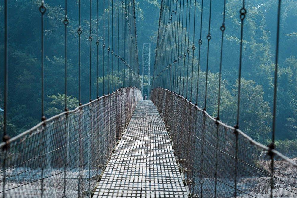 Rope bridge over the Kali Gandaki River.