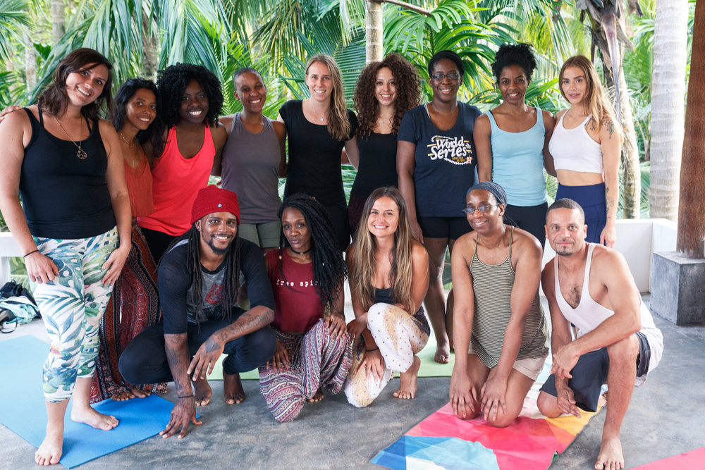 Yoga retreat attendees and instructors in the Salt House yoga shala.