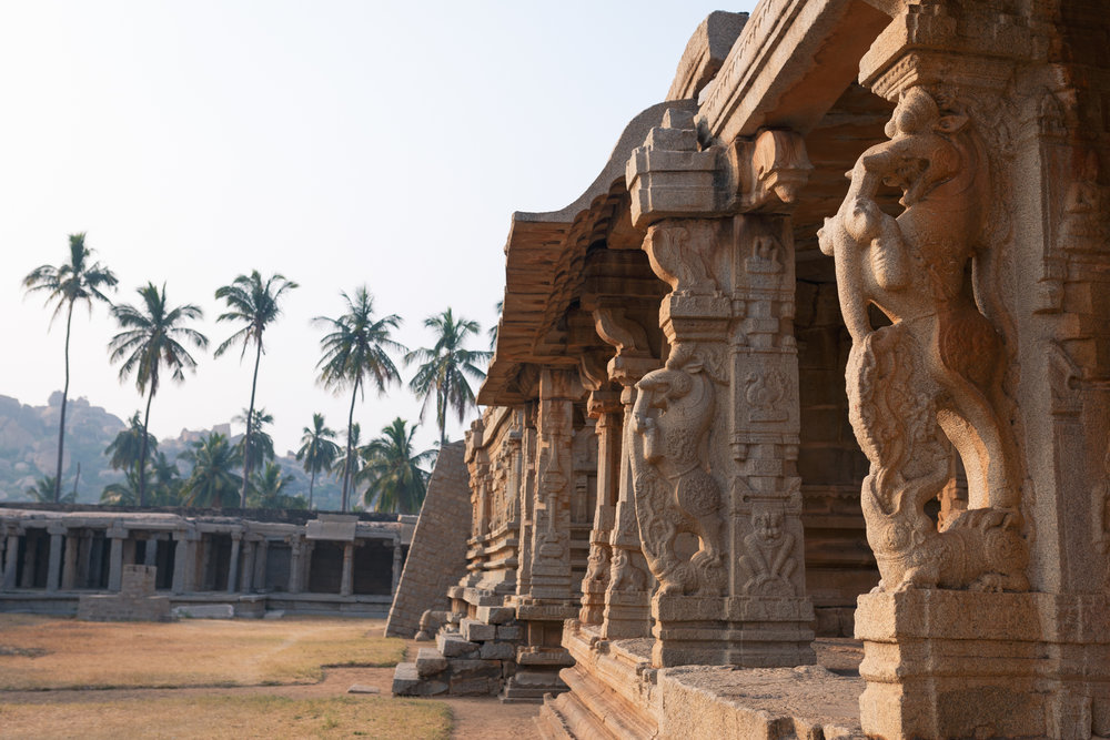 Intricate stone carvings proliferate etched into the temples.