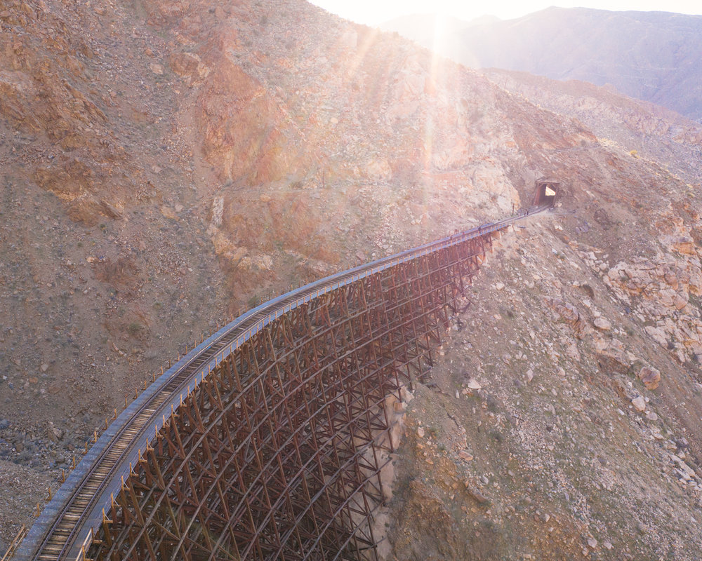 Aerial view of the Goat Canyon Trestle in Anza Borrego, California.