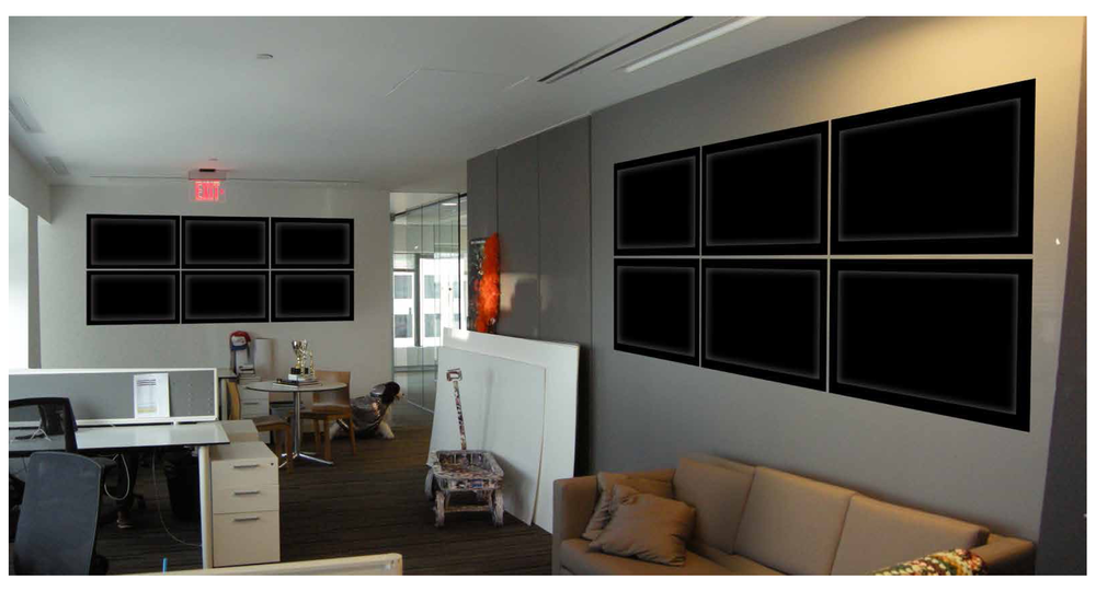 Our first step was to find a suitable space. We took pictures of several possible locations and photoshopped some TV screens on the walls.
