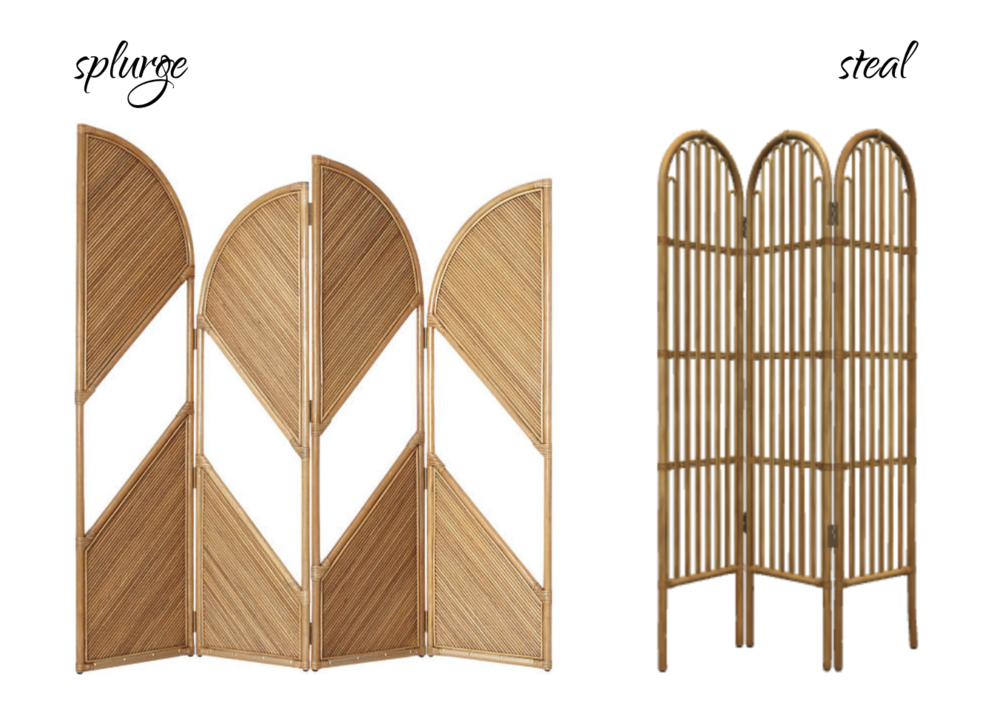 LEFT:  CB2 Fan Natural Rattan Room Divider .  RIGHT:  Target Rattan Room Divider Screen Brown - Opalhouse™