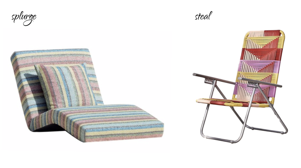 LEFT:  Missoni Home Jalamar Outdoor Multicolor Stripe Chaise Lounge $3,410 . | RIGHT:  Urban Outfitters Home Woven Outdoor Lawn Chair $129 .