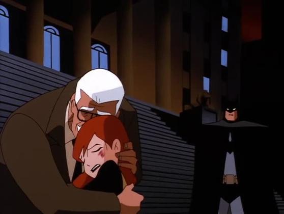 Comissioner Gordon cradles Barbara's lifeless body as Batman looks on Over The Edge The New Batman Adventures