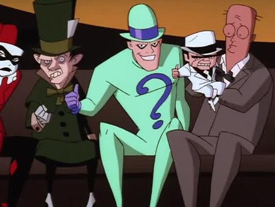 Harley, Mad Hatter, Riddler, and Scarface from Over The Edge The New Batman Adventures
