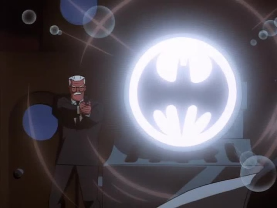 Comissioner Gordon with the Bat-Signal Over The Edge The New Batman Adventures