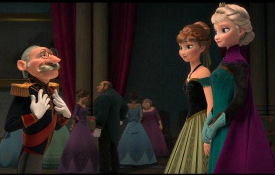 Anna and Elsa at Elsa's coronation ball.