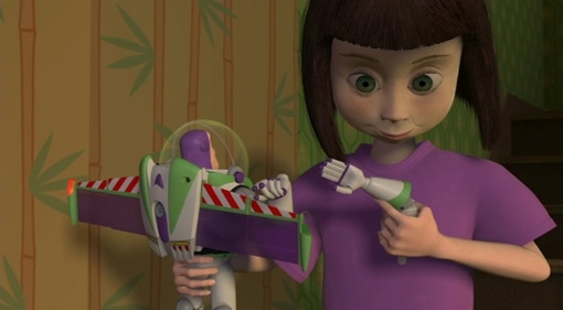 Hannah with Buzz Lightyear from Pixars Toy Story