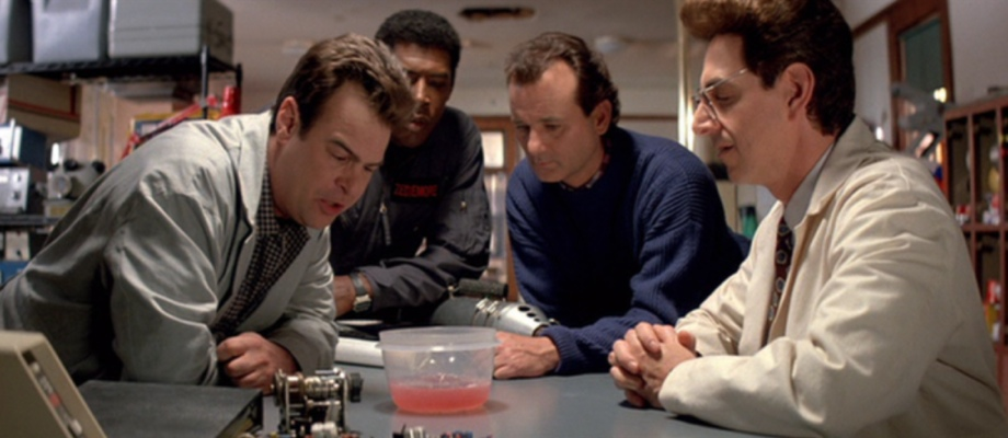 The cast of Ghostbusters II with mood slime