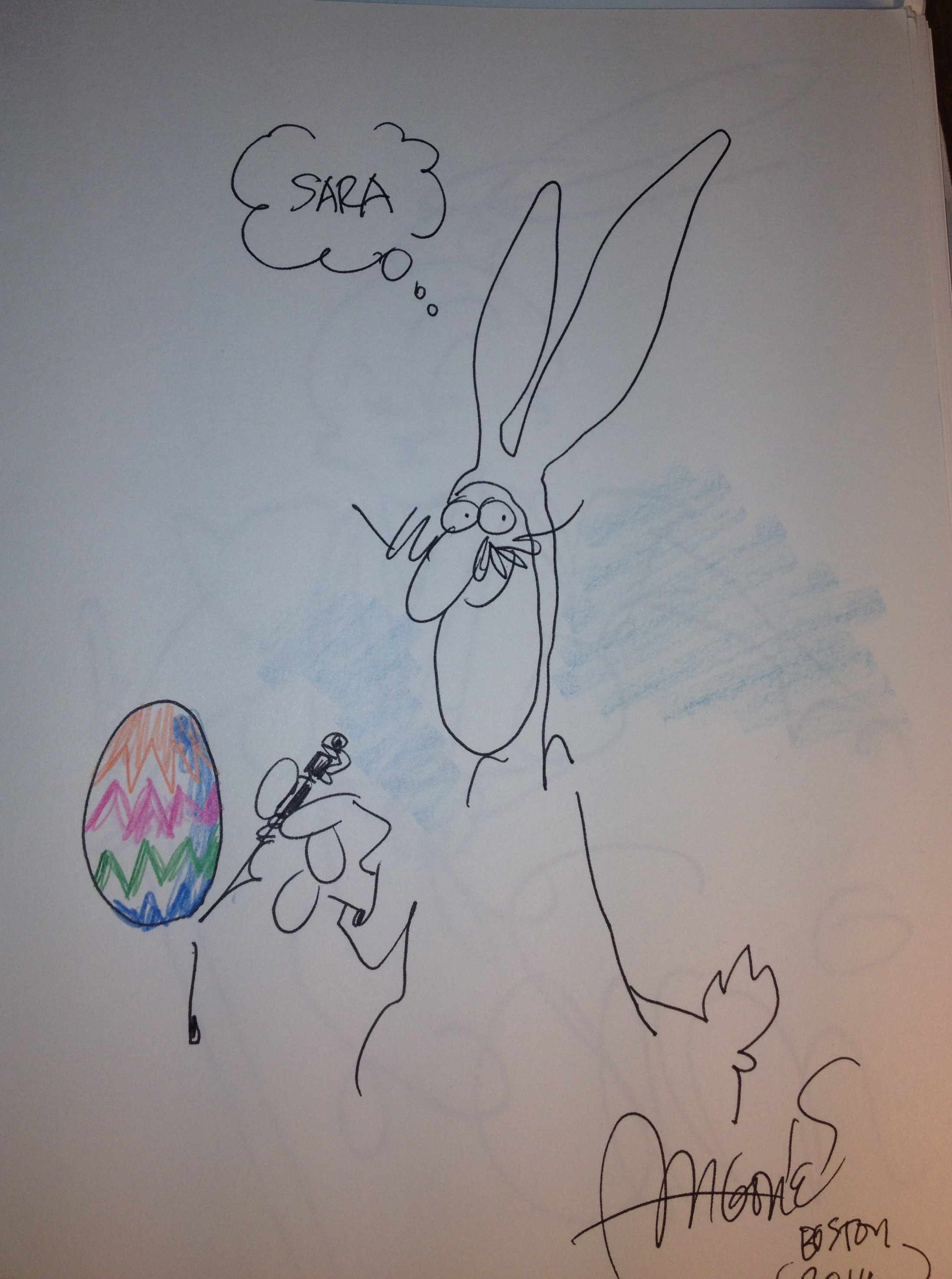 Easter Bunny/self portrait by Sergio Aragones