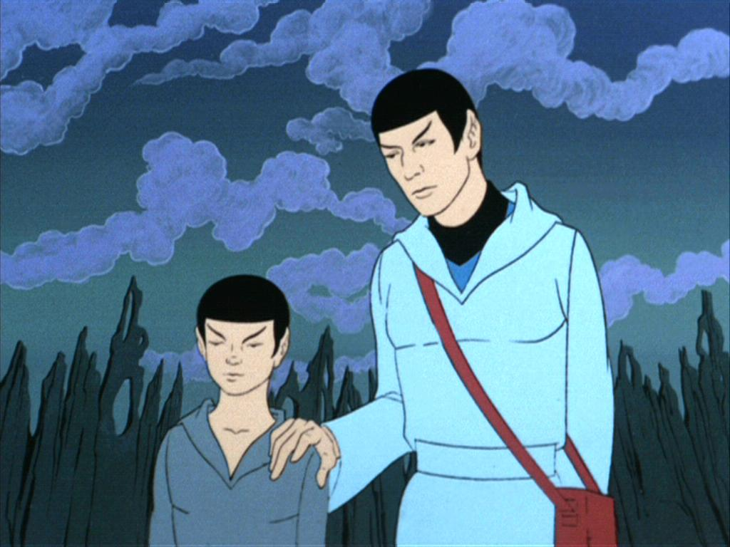 "Spock with his younger self in ""Yesteryear"""