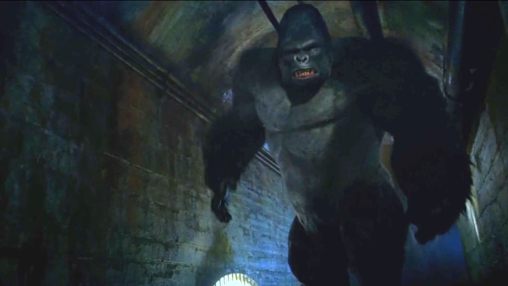 Grodd shows off his full height.