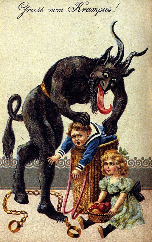 "Illustration of Krampus, a goat demon with a long tongue, putting a crying boy into his basket. A girl with a basket of fruit sits nearby. Text above the image reads ""Gruss vom Krampus!"""