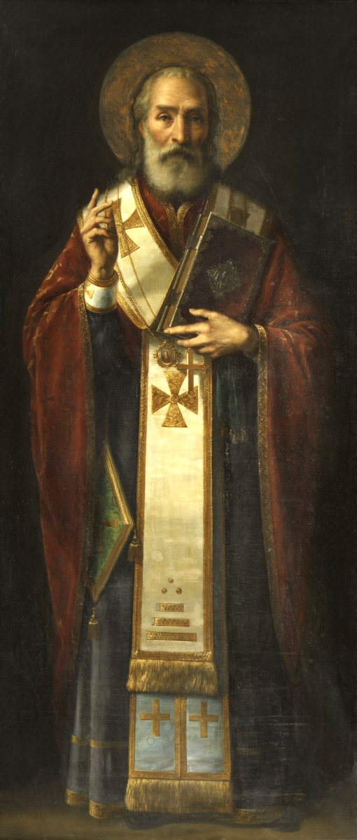 a full-length icon of Saint Nicholas.