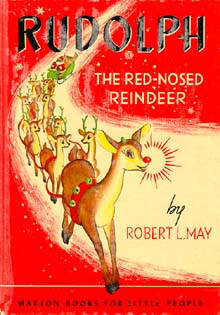 Book cover showing Rudolph leading a team of reindeer pulling Santa's sleigh.
