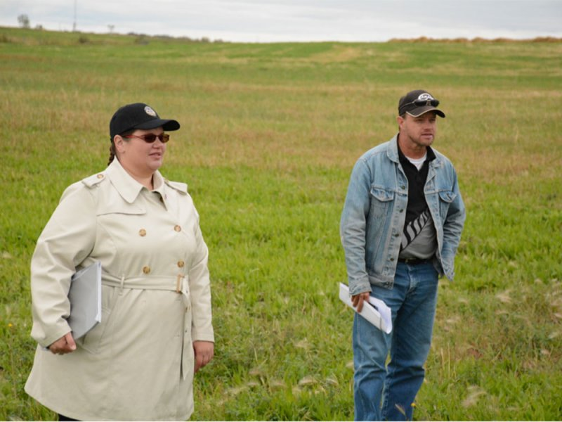 Juanita Kopp (left) and Clayton Robbins (right) during a tour on September 10, 2015