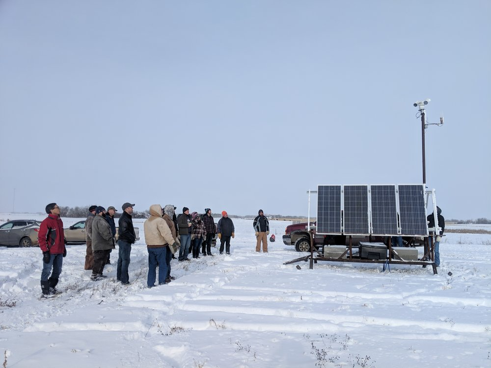 Winter Grazing Workshop tour participants viewing the MBFI pasture cam at the Brookdale Farm 2018