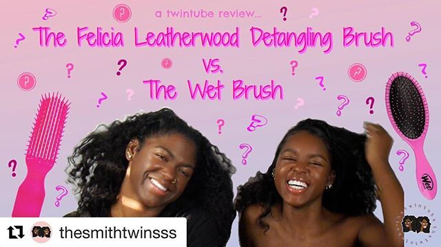#Repost @thesmithtwinsss with @get_repost ・・・ Our newest vid is out!! Y'all ain't never seen a brush like @lovingyourhair 's brush! We loveeee the Felicia Leatherwood Detangling Brush. Watch to see why!💘 • • • What Hair Products do ya'll love? Comment Below!🤪 • • • #felicialeatherwoodbrush #detanglingbrush #detanglingbrush #thewetbrush #hairbrushreview #youtubers #twinyoutubers #twinsies #curlygirls #curlyhair #curlyhairstyles #curlyhairproducts #curls #curlytwins #twinyoutubechannel #hairproducts #hairproductsthatwork