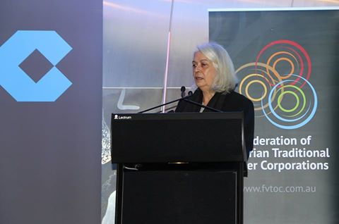 Professor Marcia Langton congratulating the Federtation at the launch of its first joint venture: Barpa