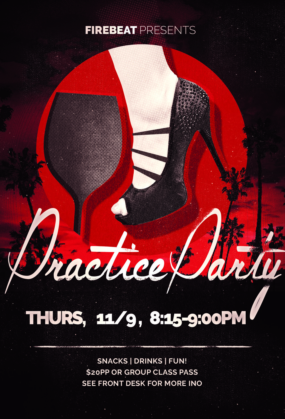 - Looking to take your dancing out of the classroom and onto the dance floor? You're in luck! Our next practice party is coming up on January 11th, and it's the perfect way to build your confidence in a social setting. From 8:15-9:00 PM, join dancers of all levels for a fun, informal dance party with great music, light refreshments, and plenty of fabulous dancing. Meet new friends, dance with new partners, and experience the fun of the Firebeat community! Tickets are just $20 per person, or use one class from your pack. We can't wait to dance with you!