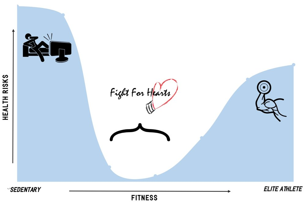 Figure 2: Health Risks vs. amount of Fitness.