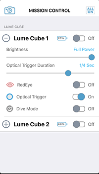 All aspects of each cube can be controlled from within the app.