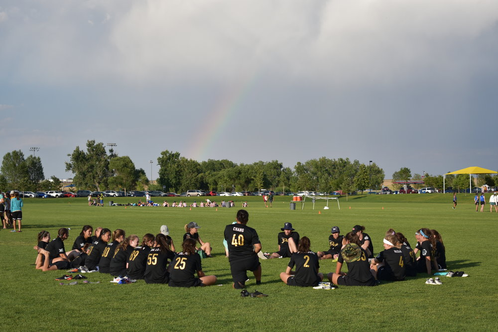 Minnesota Pop  debriefs after their final game on Saturday afternoon at the Colorado Cup.