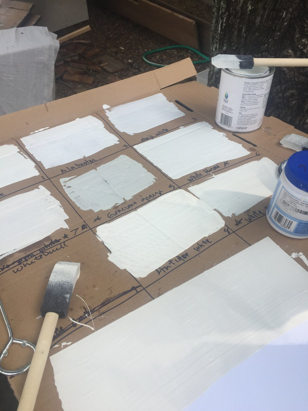 Here's one of several rounds of white samples for our exterior color update.