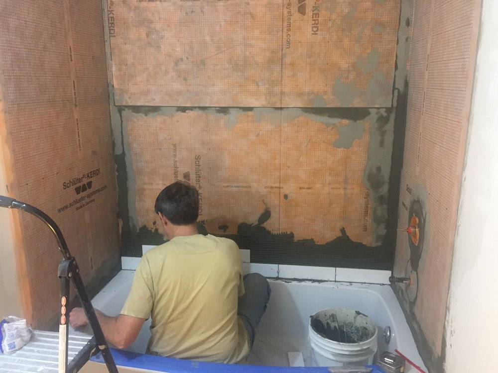 HALL BATH: New Tub In - Subway Tile For Walls