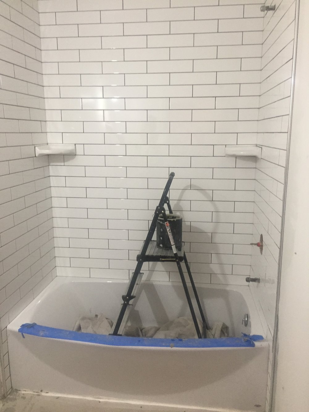 HALL BATH: Completed Tile