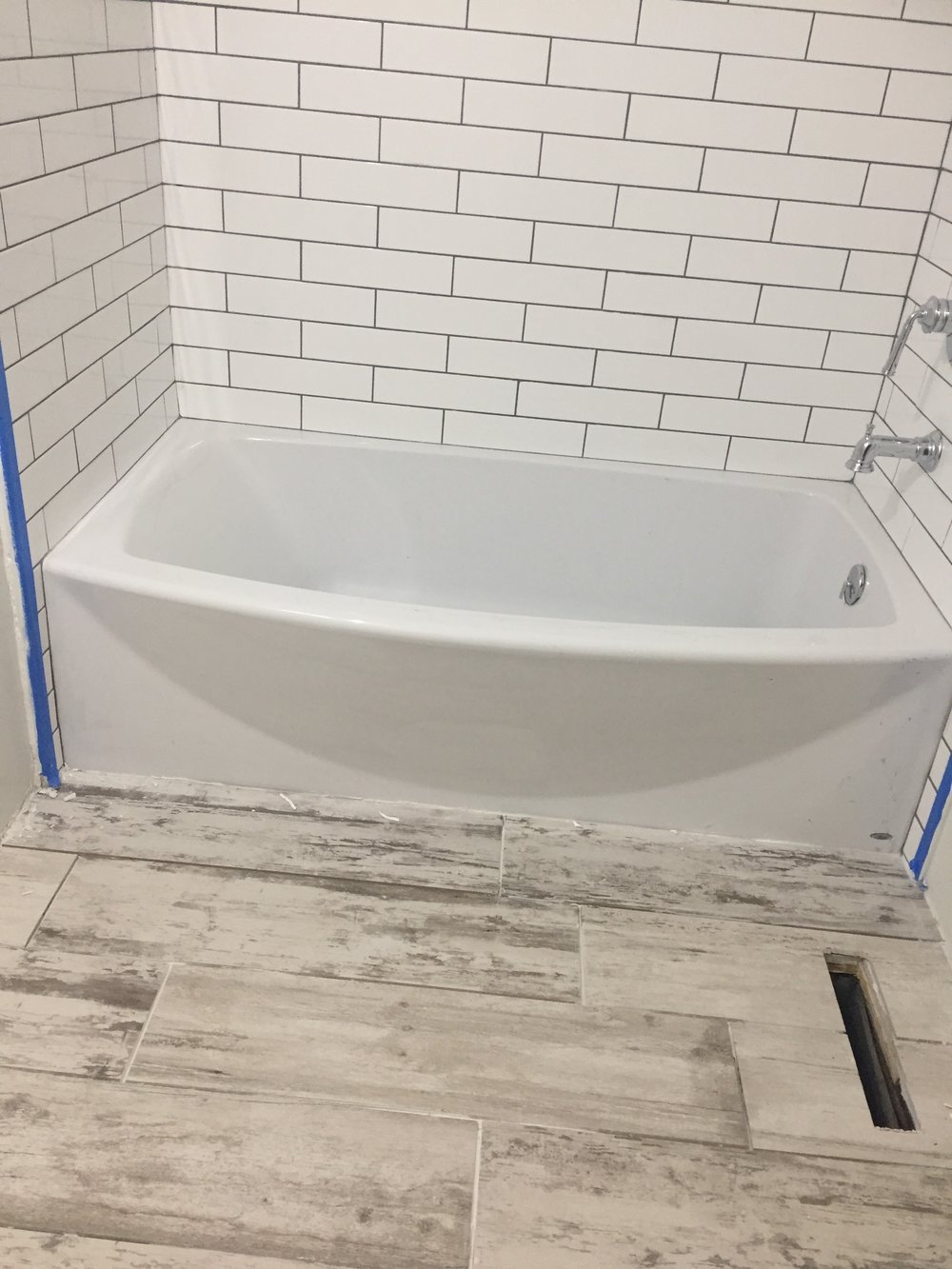 HALL BATH: Flooring Complete