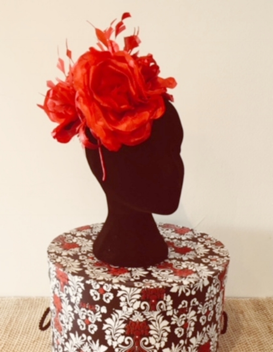 My 2016 creation - 3 flowers, 3 sprigs of feathers, 1 headband and a few stitches