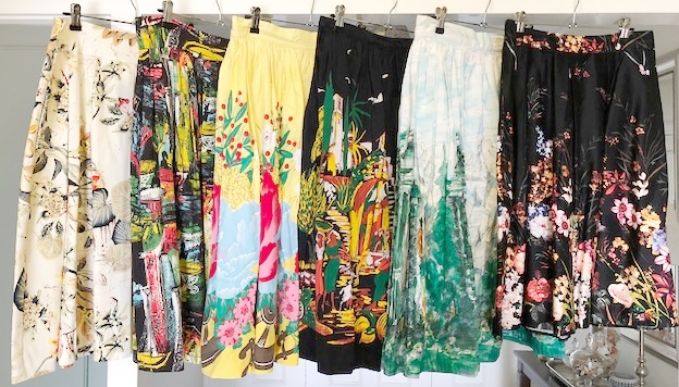 Floral and border print skirts. Which one's are old, which one's are new?
