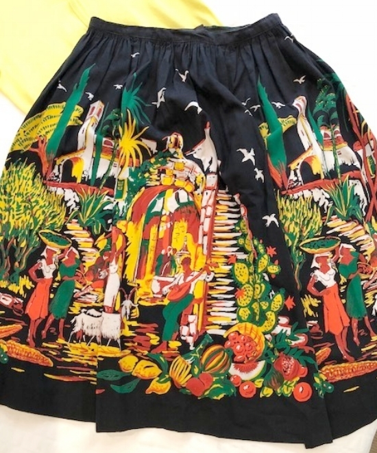 The border print skirts of the 1950's often featured flowers, fruit, figures of people and depicted celebration.