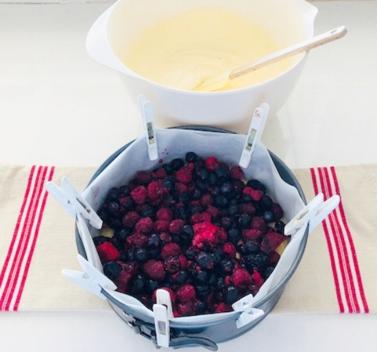 Berries on top of cake base