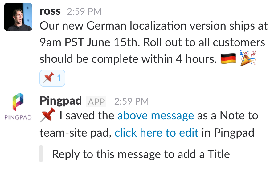 Just react in Slack to capture a message to Pingpad