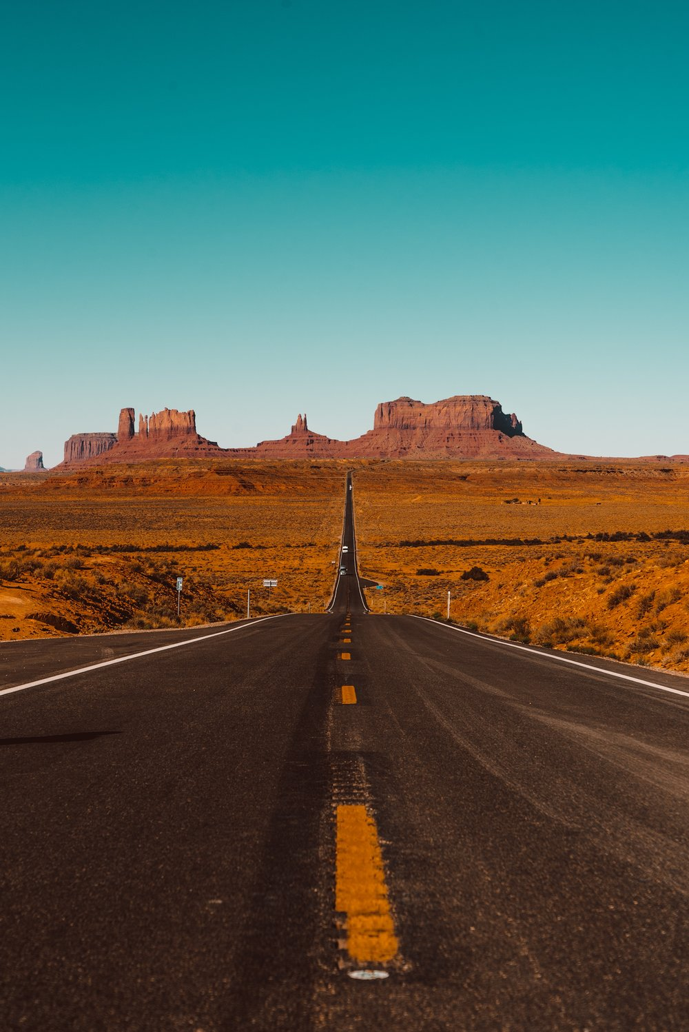 Monument Valley in Arizona and Utah with red rocks