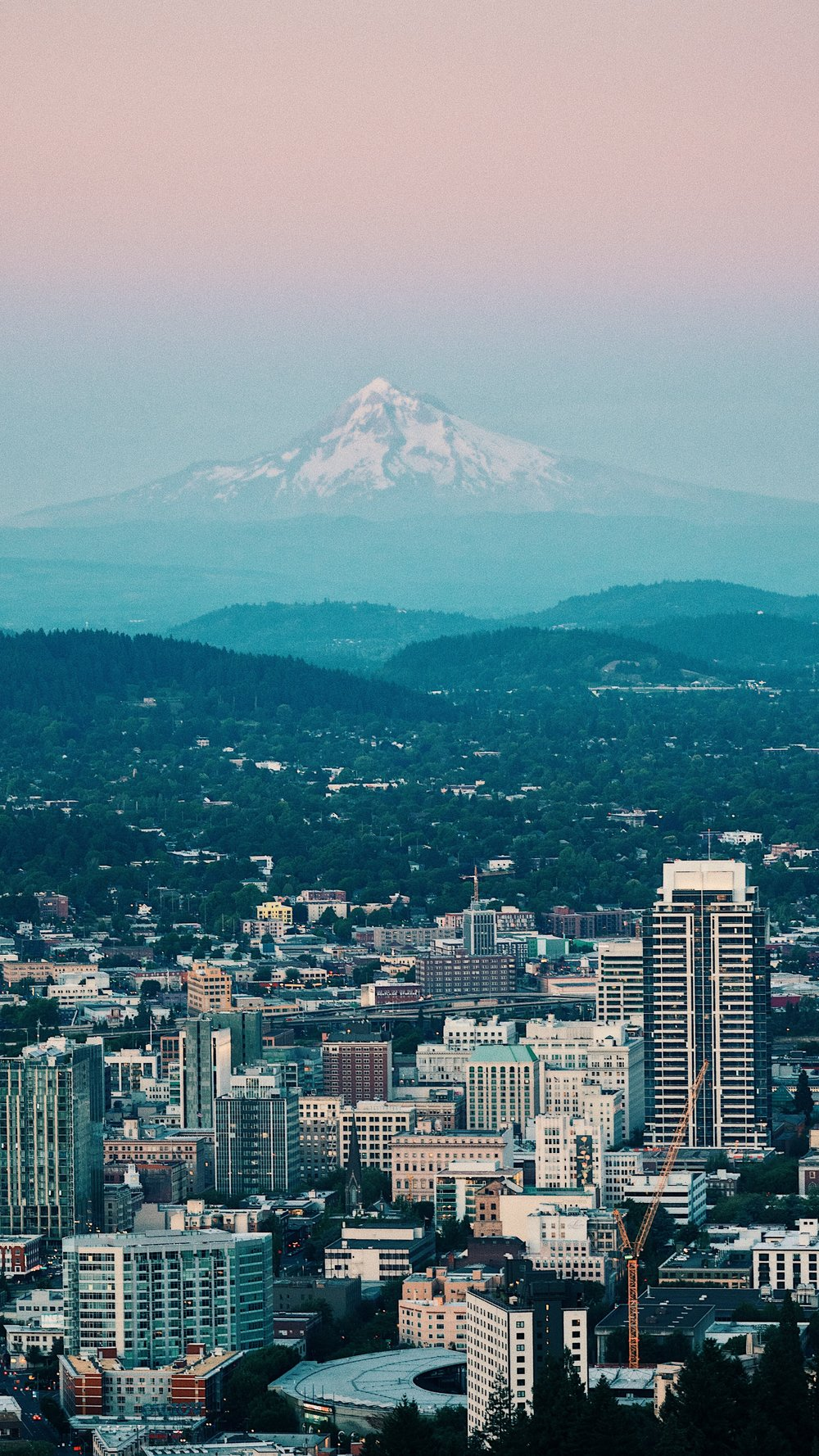 Portland Oregon cityscape with Mount Hood in the background