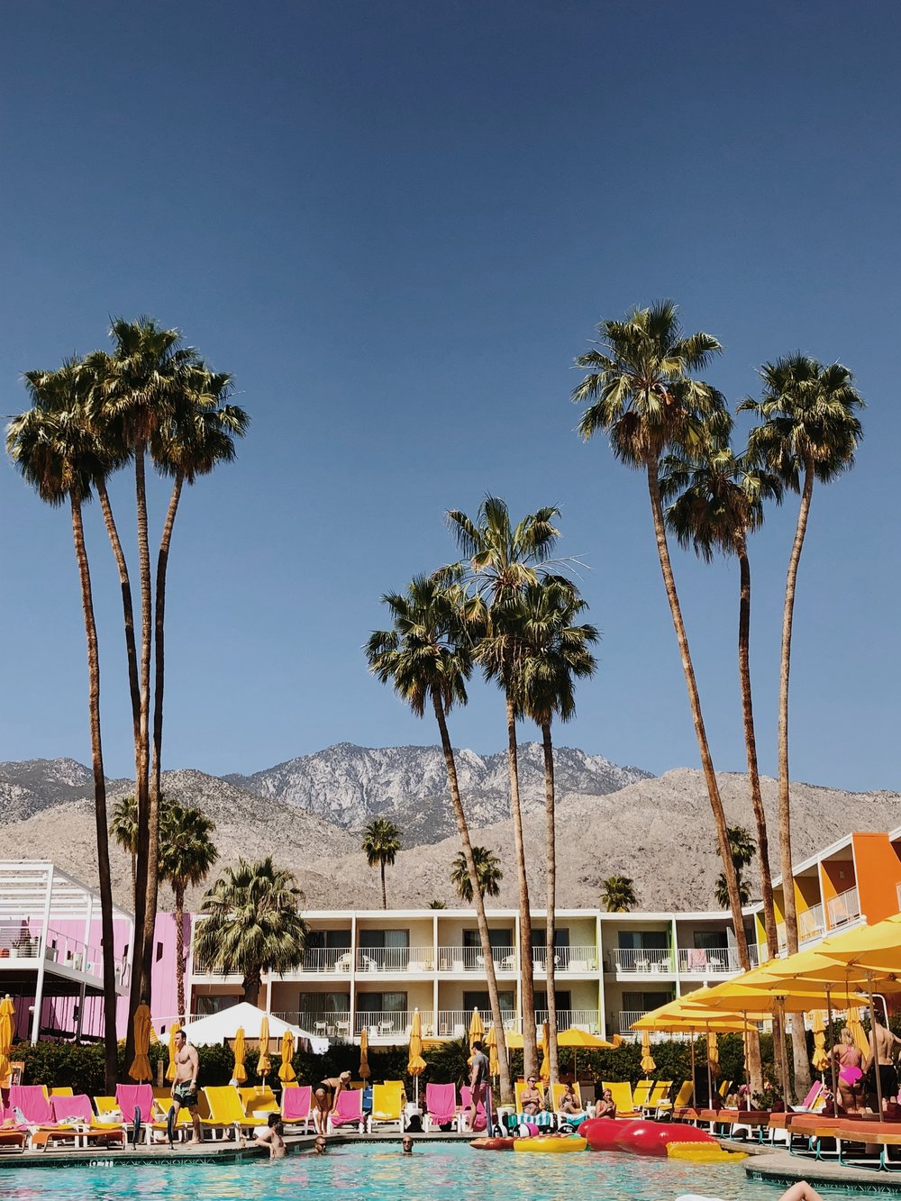 hotel with palm trees and a pool in front of mountains and blue sky