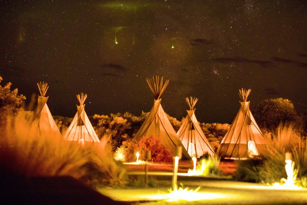 teepee accommodations under a starry sky