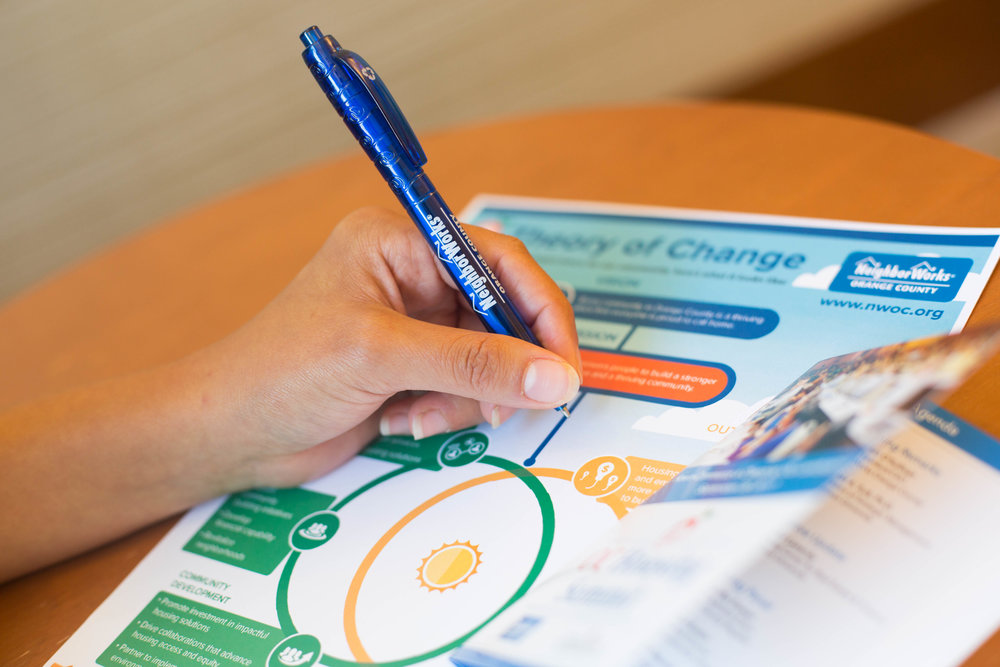 Hand Holding NWOC Pen Over Theory of Change Document and Brochure.jpg