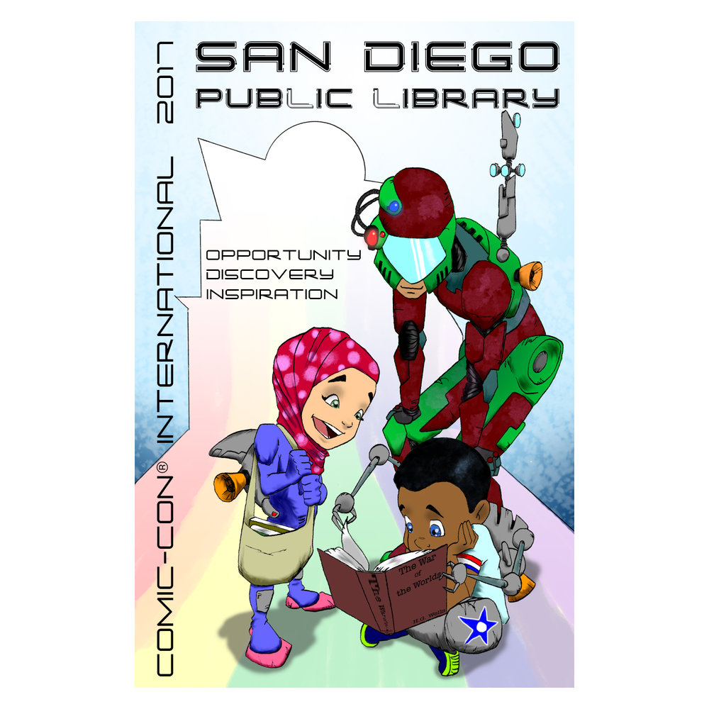 - I have the honor of being one of three artists chosen to design one of the San Diego Comic-Con exclusive SD Public Library cards. The cards will be available, in limited quantities, at all San Diego Public Library branches and at the San Diego Public Library booth (5523) in the Exhibit Hall. If you catch me, I will be happy to sign my card design for you- it only costs a crisp high-five!