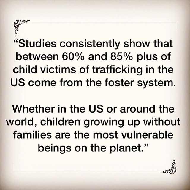 """""""Studies consistently show that between 60% and 85% plus of child victims of trafficking in the US come from the foster system.Whether in the US or around the world, children growing up without families are the most vulnerable beings on the planet. • What we can express with confidence, however, is that God designed the family as the best environment for children. • Safe, permanent, nurturing family must be our goal whenever possible."""" • -New report out from Christian Alliance for Orphans discussing the link between human trafficking and foster care. Written by Jedd Medefind. Link to article below. • https://cafo.org/2018/07/17/human-trafficking-orphans-the-2018-trafficking-in-persons-report/ • #CAFO #humantrafficking #fostercare #family"""