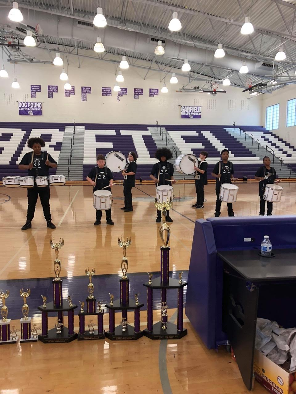 Meany drumline students win 1st place at the Bulldogs Drum eXpo at Garfield on May 19.