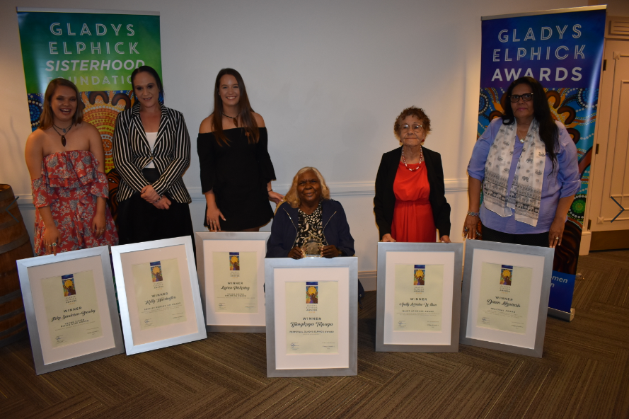 The 2018 Award winners: Iteka Sanderson-Bromley, Kelly Harrington, Lauren Pickering, Tjunkaya Tapaya, Lorraine Wilson and Dawn Likouresis.
