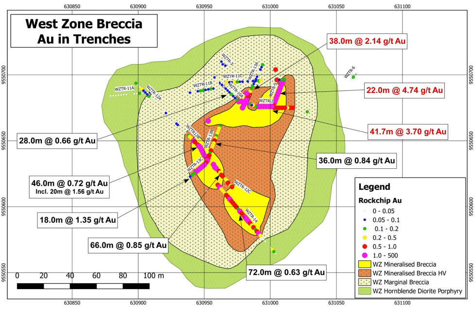 Gold values in trenches from the West Zone Breccia collected by Ecuador Gold S.A.