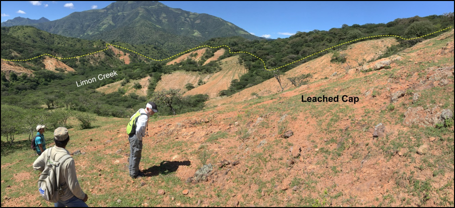 Leached cap at the Limon porphyry Au-Cu prospect.