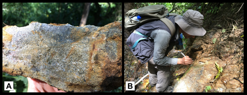 Epithermal mineralization at the West Zone Breccia. A) Silica and clay altered 'hydrothermal' breccia, B) Geologist inspecting an outcrop of silicified breccia at West Zone