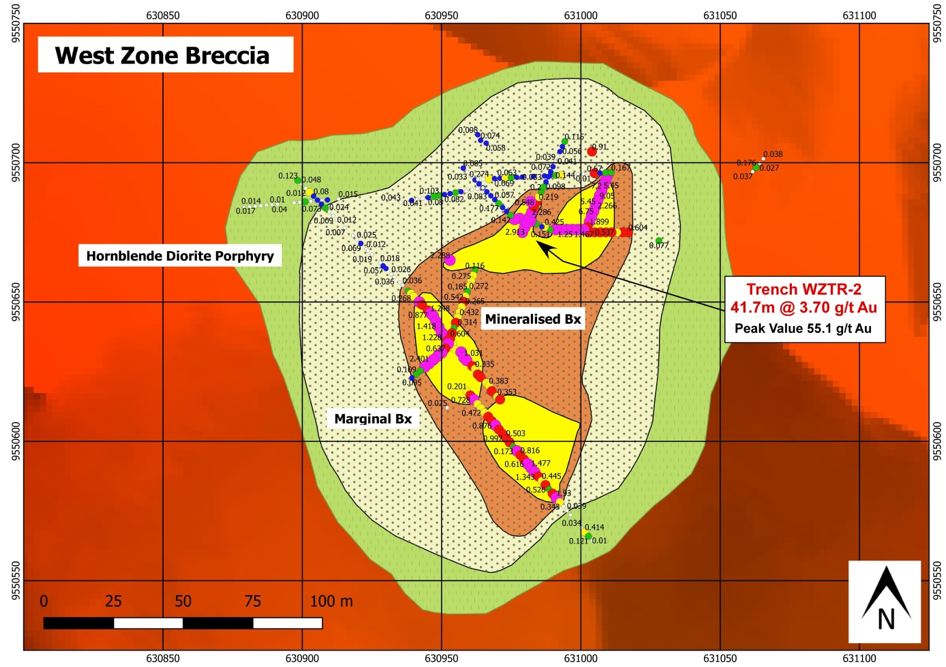 Gold assay results in trenching at West Zone Breccia