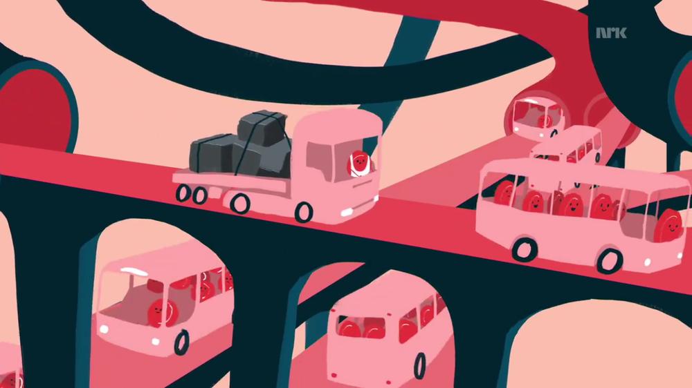 """Bildet illustrerer transportører/lastebiler som frakter næring rundt i kroppen. (fra """"den magiske kroppen"""")"""